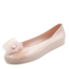Donna PVC Ballerine Punta chiusa con Fiore scarpe (086165238)