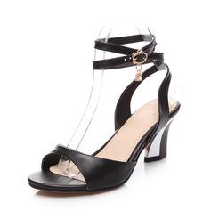 Aitoa nahkaa Chunky heel Sandaalit Kantiohihnakengät jossa Solki kengät (087062772)