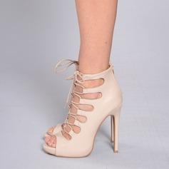 Donna Similpelle Tacco a spillo Stiletto Punta aperta con Allacciato scarpe (087171520)