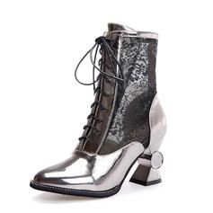 Женщины кожа Устойчивый каблук Полусапоги обувь (088091720)