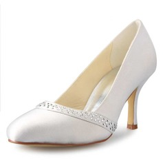 Women's Satin Stiletto Heel Closed Toe Pumps With Rhinestone (047056223)