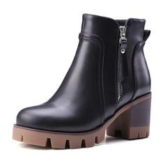 Frauen Kunstleder Stämmiger Absatz Absatzschuhe Plateauschuh Geschlossene Zehe Stiefel Stiefelette mit Reißverschluss Schuhe (088095917)