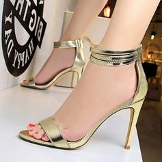 Femmes Similicuir Talon stiletto À bout ouvert Escarpins Sandales avec Zip (047142532)