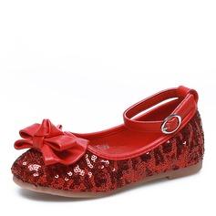 Mädchens Geschlossene Zehe Stoff Flache Ferse Flache Schuhe Blumenmädchen Schuhe mit Bowknot Pailletten Klettverschluss (207121299)