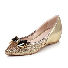 Kvinner Lær Glitrende Glitter Kile Hæl Flate sko Lukket Tå sko (086092742)