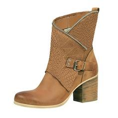 De mujer Cuero Tacón ancho Salón Cerrados Botas Botas longitud media Martin botas con Hebilla zapatos (088191469)