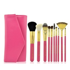 10Pcs Wood Handle Makeup Brushes With Solid Color PU Pouch(More Colors) (046071205)
