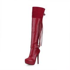 Frauen Veloursleder Kunstleder Stöckel Absatz Absatzschuhe Plateauschuh Geschlossene Zehe Stiefel Stiefel über Knie mit Schnalle Quaste Schuhe (088095460)