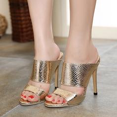 Vrouwen Kunstleer Stiletto Heel Sandalen Peep Toe Slingbacks schoenen (087112935)