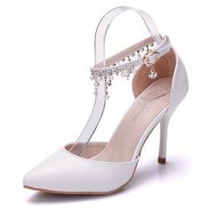 Kvinder Kunstlæder Stiletto Hæl Lukket Tå Pumps sandaler Mary Jane med Spænde Imiteret Pearl (047144243)