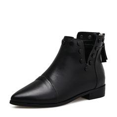 Frauen PU Niederiger Absatz Stiefel Stiefelette mit Niete Reißverschluss Quaste Schuhe (088142501)