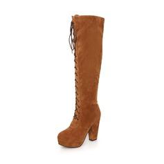 Wildleder Stämmiger Absatz Stiefel über Knie mit Reißverschluss Schuhe (088036915)