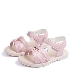 Ragazze Punta aperta finta pelle Heel piatto Sandalo Ballerine Scarpe Flower Girl con Velcro Bottone (207166228)