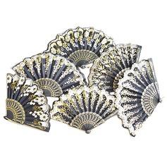 Diseño Floral Plástico/Seda Ventilador de la mano (Juego de 4) (051040145)