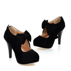 Women's Suede Stiletto Heel Pumps Platform Closed Toe Ankle Boots With Bowknot Zipper shoes (088022874)
