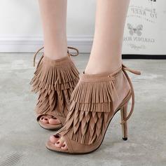 Frauen Wildleder Stöckel Absatz Sandalen Absatzschuhe Peep Toe Slingpumps mit Zuschnüren Quaste Schuhe (088112082)