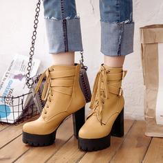 Frauen PU Stämmiger Absatz Absatzschuhe Plateauschuh Stiefel mit Schnalle Reißverschluss Zuschnüren Schuhe (088137521)