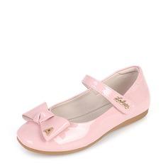 Mädchens Geschlossene Zehe Leder Flache Ferse Flache Schuhe Blumenmädchen Schuhe mit Bowknot Klettverschluss (207112581)