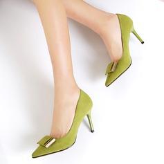 Frauen Wildleder Stöckel Absatz Absatzschuhe Geschlossene Zehe mit Bowknot Schuhe (085111844)