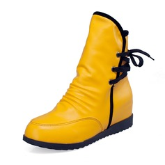 Similicuir Talon compensé Bottes mi-mollets chaussures (088052893)
