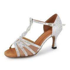 Vrouwen Sprankelende Glitter Hakken Sandalen Latijn Salsa met T-Riempjes Dansschoenen (053020380)
