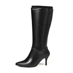 Frauen Kunstleder Stöckel Absatz Absatzschuhe Stiefel Kniehocher Stiefel mit Zweiteiliger Stoff Schuhe (088190934)