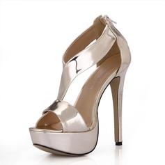 Cuir verni Talon stiletto Sandales Plateforme À bout ouvert avec Zip chaussures (087025071)