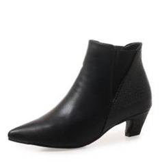 Frauen PU Niederiger Absatz Stiefel Stiefelette mit Zweiteiliger Stoff Schuhe (088190936)