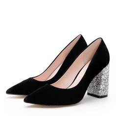 Donna Camoscio Tacco spesso Stiletto Punta chiusa scarpe (085172787)