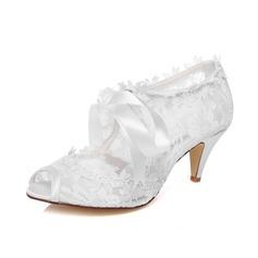Frauen Lace Kegel Absatz Peep Toe Sandalen (047077211)