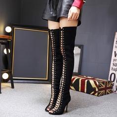 Frauen Wildleder Stöckel Absatz Stiefel Peep Toe Stiefel über Knie mit Zuschnüren Schuhe (088111789)
