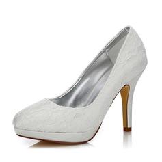 Frauen Lace Satin Stöckel Absatz Geschlossene Zehe Absatzschuhe Färbbare Schuhe (047088632)