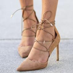 Donna Camoscio Tacco a spillo Stiletto Punta chiusa con Allacciato scarpe (085171513)
