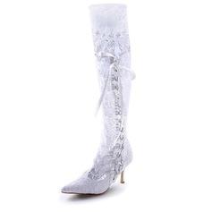 Frauen Satin Stöckel Absatz Stiefel Geschlossene Zehe mit Satin Schnürsenkel Stich Spitzen (047005049)