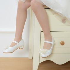 Mädchens Round Toe Geschlossene Zehe Leder niedrige Ferse Flache Schuhe Blumenmädchen Schuhe mit Schnalle Nachahmungen von Perlen Satin Schleife (207113590)