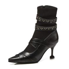Donna Similpelle Tacco a spillo Stivali Stivali alla caviglia con Fibbia scarpe (088175366)