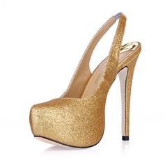 Kvinnor Glittrande Glitter Stilettklack Stängt Toe Plattform Pumps Slingbacks (047015216)