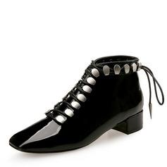 Donna Pelle verniciata Tacco spesso Punta chiusa Stivali alla caviglia con Allacciato scarpe (088172785)