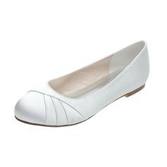 Frauen Satin Flascher Absatz Geschlossene Zehe Flache Schuhe (047053928)