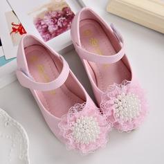 Ragazze Punta chiusa finta pelle Heel piatto Ballerine Scarpe Flower Girl con Perla imitazione Velcro (207123120)
