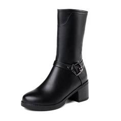 Femmes Similicuir Talon bottier Bottes Bottes mi-mollets avec Boucle chaussures (088190931)