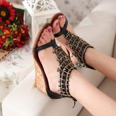 Vrouwen Kunstleer Wedge Heel Sandalen Wedges Peep Toe met Keten schoenen (087117159)