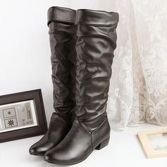 Frauen PU Niederiger Absatz Flache Schuhe Stiefel Kniehocher Stiefel Schuhe (088140259)