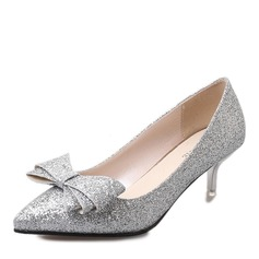 Donna Pelle verniciata Tacco a spillo Stiletto Punta chiusa con Bowknot Paillette scarpe (085168419)