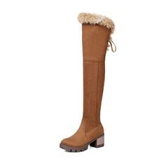 Frauen Veloursleder Stämmiger Absatz Absatzschuhe Stiefel Stiefel über Knie mit Reißverschluss Schuhe (088147459)