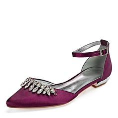 Women's Leatherette Flat Heel Closed Toe Flats With Crystal (047192758)