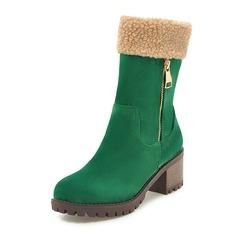 Frauen Kunstleder Stämmiger Absatz Stiefel Stiefel-Wadenlang mit Reißverschluss Schuhe (088172637)