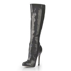 Lackleder Stöckel Absatz Absatzschuhe Geschlossene Zehe Kniehocher Stiefel Schuhe (088020544)