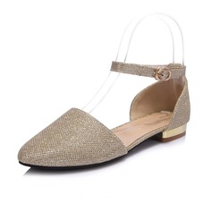 Leatherette Low Heel Flats Closed Toe With Sequin shoes (086063818)