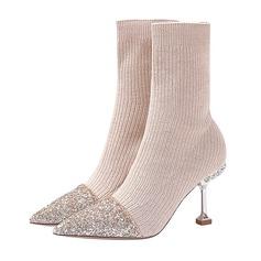 Frauen Stoff Stöckel Absatz Stiefel Geschlossene Zehe Absatzschuhe mit Funkelnde Glitzer Zweiteiliger Stoff (047190317)